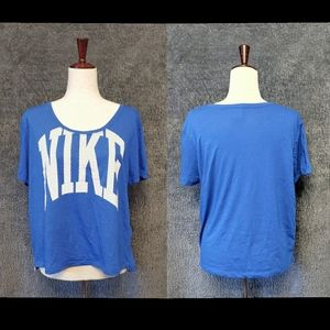 Nike Vintage Blue Cropped Logo Tee Size Medium